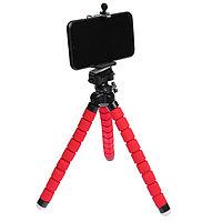 Штатив-тренога LuazON настольный, для телефона, гибкие ножки, 26 см, красный