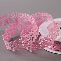 Лента фигурная 'Вьюнчик', 25 мм, 9 ± 0,5 м, цвет розовый