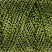 Шнур для вязания без сердечника 100 полиэфир, ширина 3мм 100м/210гр, (51 оливковый)