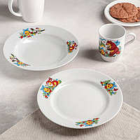 Набор посуды 'Весёлый Колобок', 3 предмета тарелка d20 см, миска d20 см, кружка 210 мл (комплект из 4 шт.)