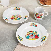 Набор посуды 'Кошкин дом', 3 предмета тарелка мелкая d20 см, тарелка глубокая d20 см, кружка 210 мл (комплект