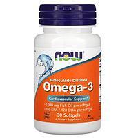 Омега-3, очищенная на молекулярном уровне, 30 капсул от Now Foods