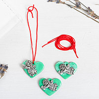 Набор талисманов на крас.нити 'Ангел на сердце' 3 шт., зеленый, серебро, 2,5 х 2 см