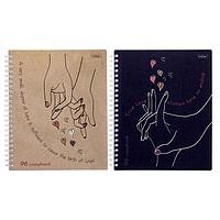 Тетрадь 96 листов в клетку, на гребне 'Почувствуй любовь', обложка мелованный картон, матовая ламинация, МИКС