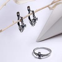 Гарнитур посеребрение 2 предмета серьги, кольцо 'Крестик', цвет белый, 16 размер