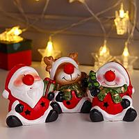 Сувенир керамика свет 'Новогодний персонаж - красный нос' МИКС 9,7х7,3х9,2 см