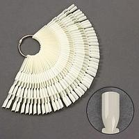 Палитра для лаков на кольце, 50 шт по 3 ногтя, цвет слоновая кость