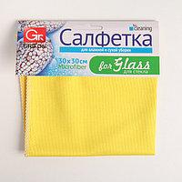 Салфетка для стекла из микрофибры, 30x30 см, 1 шт, 230 г/см2