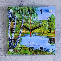 Часы настенные, серия Природа, 'Озеро', стекло, 25х25 см, микс
