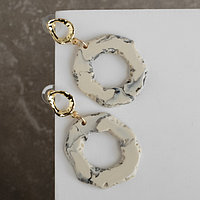 Серьги ассорти 'Натурэль' акварель кольца, цвет бело-серый в золоте