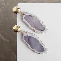 Серьги ассорти 'Натурэль' акварель овалы, цвет бело-фиолетовый в золоте