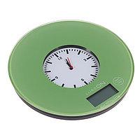 Весы кухонные LuazON LVK-703, электронные, до 5 кг, встроенные часы, цвет 'хаки'