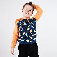 Толстовка для мальчика, цвет индиго/оранжевый, рост 116-122 см (40)