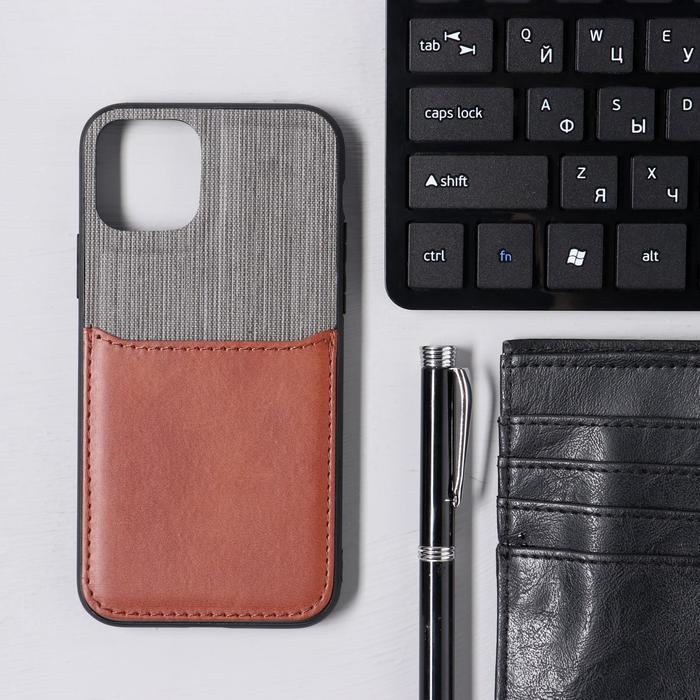 Чехол LuazON для iPhone 11 Pro, с отсеком под карты, текстиль+кожзам, коричневый - фото 1