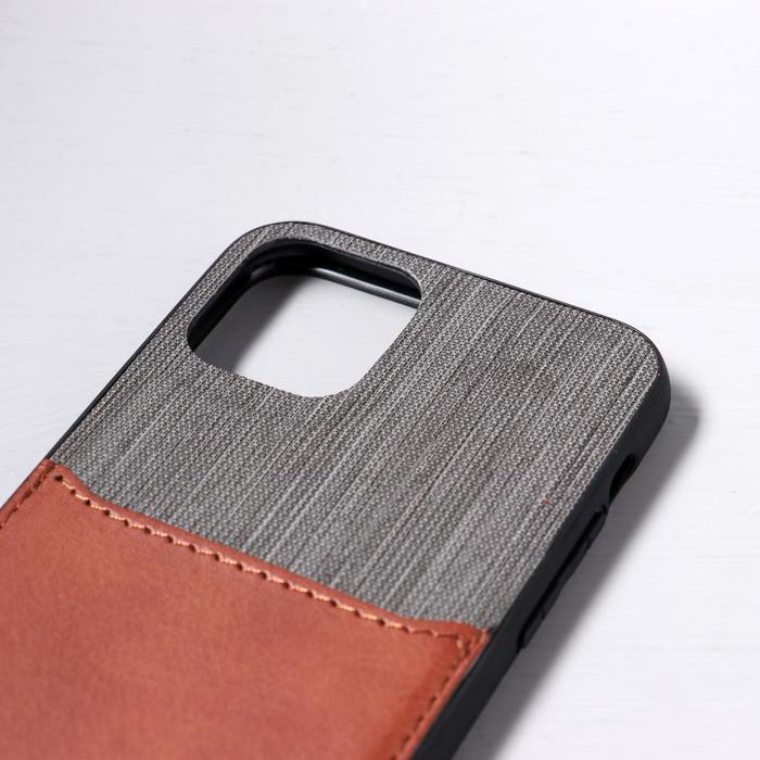 Чехол LuazON для iPhone 11 Pro, с отсеком под карты, текстиль+кожзам, коричневый - фото 2