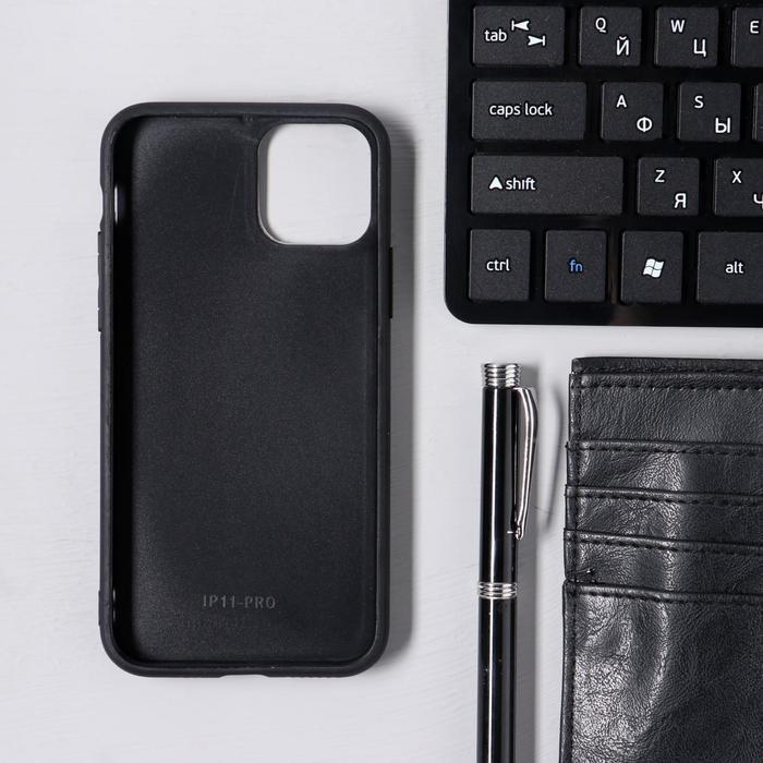 Чехол LuazON для iPhone 11 Pro, с отсеком под карты, текстиль+кожзам, коричневый - фото 3