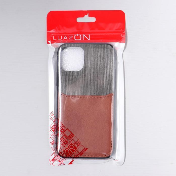 Чехол LuazON для iPhone 11 Pro, с отсеком под карты, текстиль+кожзам, коричневый - фото 5