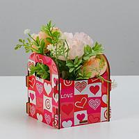 Кашпо деревянное 10.5x10x11 см подарочное Рокси Смит 'Сердечки', коробка