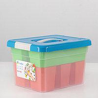 Контейнер для хранения с крышкой Kid's Box, 6 л, 25x20x16 см, 6 вставок, лоток, цвет МИКС