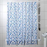 Штора для ванной комнаты 'Ракушки', 180x180 см, полиэтилен, цвет белый
