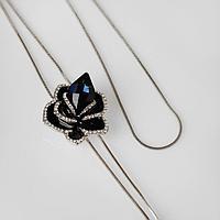 Кулон 'Цветок' роза, цвет чёрно-синий в серебре, 72см