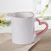 Кружка под сублимацию Доляна 'Лав стори', 320 мл, 12x8x9,5 см, цвет нежно-розовый