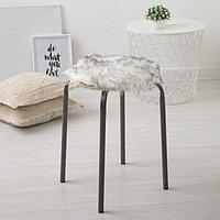 Сидушка на стул меховая Доляна 'Пушинка' цв.белый/черный d 30 cm,100 п/э