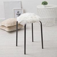 Сидушка на стул меховая Доляна 'Пушинка' цв.белый d 30 cm,100 п/э
