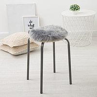 Сидушка на стул меховая Доляна 'Пушинка' цв.серый d 30 cm,100 п/э
