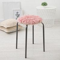 Сидушка на стул меховая Доляна 'Уют' цв.розовый d 30 cm,100 п/э
