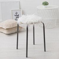 Сидушка на стул меховая Доляна 'Уют' белый d 30 cm,100 п/э