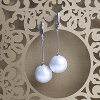Серьги родирование 'Жемчуг хлопковый' шар 18, цвет белый