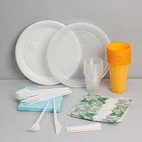 Набор одноразовой посуды 'На природу', 10 персон, цвет белый, красный