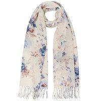 Палантин женский текстильный, цвет молочный/цветы, размер 63х180