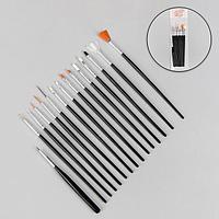 Кисти для наращивания и дизайна ногтей, 15 шт, 19 см, цвет чёрный