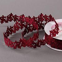 Лента фигурная 'Розы', 25 мм, 9 ± 0,5 м, цвет бордовый