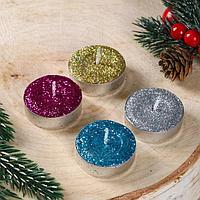 Набор новогодних свечей чайных 'С Новым годом, золото, серебро', блёстки, 4 шт