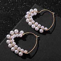 Серьги-кольца 'Карелия' сердечки с бусинами, цвет белый в золоте, d3.8