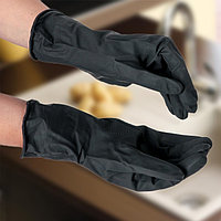 Перчатки хозяйственные резиновые Доляна, размер L, защитные, химически стойкие, 55 гр, цвет чёрный