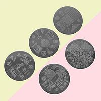 Диски для стемпинга металлические, 5,5 см, 5 шт, рисунки МИКС