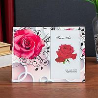 Фоторамка стекло 10х15 см 'Красная роза' двойной выпуклый рисунок 17х22 см