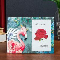 Фоторамка стекло 10х15 см 'Фламинго в тропиках' двойной выпуклый рисунок 17х22 см