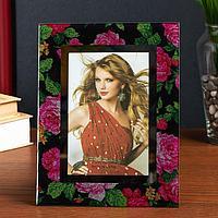 Фоторамка стекло 10х15 см 'Розовые розы' блеск 22х17 см