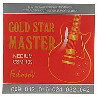 Струны GOLD STAR MASTER Medium ( .009 - .042, навивка - нерж. сплав на граненом керне)