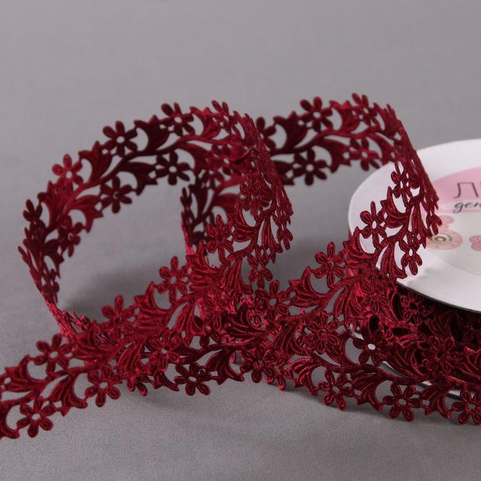 Лента фигурная 'Ромашки', 25 мм, 9 ± 0,5 м, цвет бордовый - фото 1
