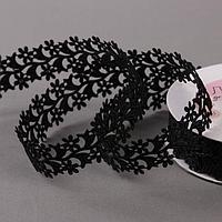 Лента фигурная 'Ромашки', 25 мм, 9 ± 0,5 м, цвет чёрный