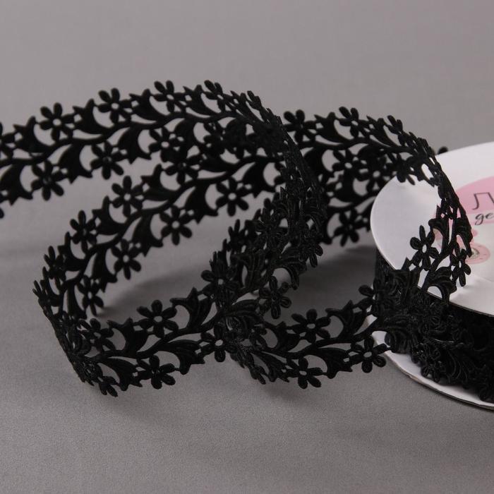 Лента фигурная 'Ромашки', 25 мм, 9 ± 0,5 м, цвет чёрный - фото 1