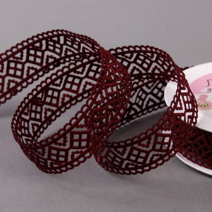 Лента фигурная 'Ромбы резные', 25 мм, 9 ± 0,5 м, цвет бордовый - фото 1