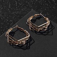 Серьги-кольца 'Абстракция' квадраты, цвет золото, d3.5 см