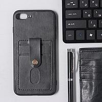 Чехол LuazON для iPhone 7 Plus/8 Plus, с отсеками под карты, кожзам, черный